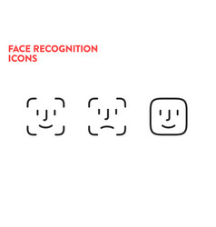 face id icons face scanning process icons facial vector image