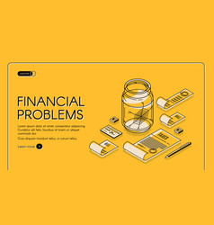 Financial problems poorness landing page banner vector