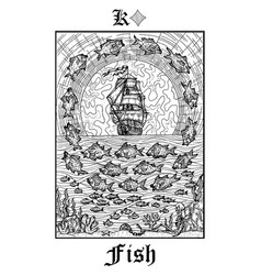 Fish or ship symbol tarot card from lenormand vector