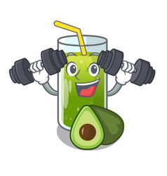 Fitness avocado smoothies in a mascot glass vector
