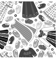 flat kid cloth seamless pattern monochrome vector image