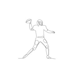 Football player in helmet going to throw ball vector