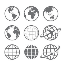 Globe earth icons image vector