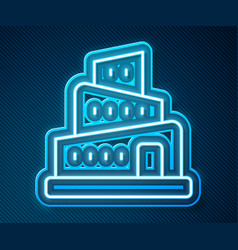 Glowing neon line babel tower bible story icon vector