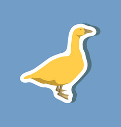 Goose paper sticker on stylish background vector