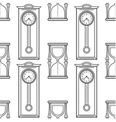 Grandfather clock and hourglass black and white vector