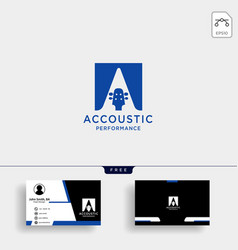 Guitar acoustic home learning logo template vector