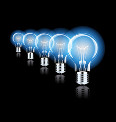 hanging light bulbs with glowing one isolated on vector image
