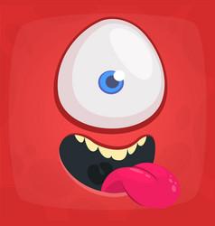 Happy cartoon monster one eye cyclops face vector