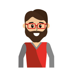 Happy man wearing glasses and casual shirt vector