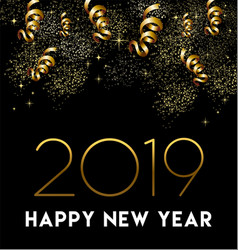 happy new year 2019 gold party decoration card vector image