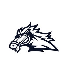 horse mascot logo outline version horses logo in vector image