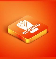 Isometric burrito icon isolated on orange vector