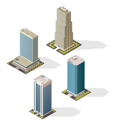 isometric skyscraper buildings 3d icons vector image