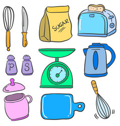 Kitchen set accessories doodle style vector