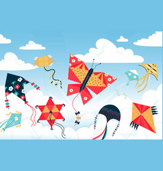 Kite in sky children wind toys various shapes vector