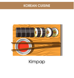 Korean cuisine kimpap sushi rolls traditional dish vector