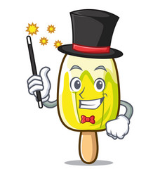 Magician lemon ice cream mascot cartoon vector
