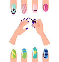 manicure with patterns on nails of all shapes set vector image