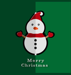 merry christmas card with paper snowman vector image