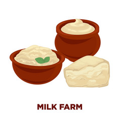 Milk farm advertisement banner with sour cream and vector