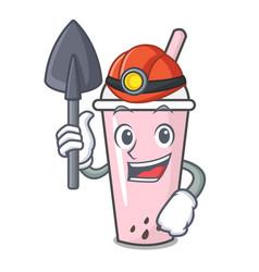 Miner raspberry bubble tea character cartoon vector