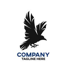 modern black raven logo vector image