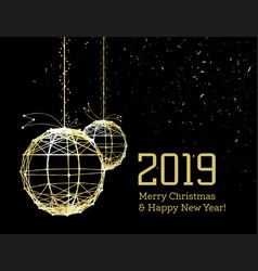 new year s christmas balls on luminous golden vector image