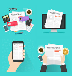 newspaper on table desk and news paper online vector image
