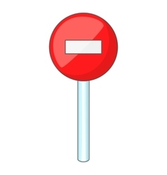 No entry traffic icon cartoon style vector image