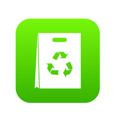 package recycling icon digital green vector image