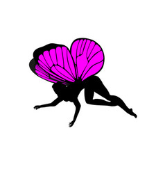 Pink silhouettes of cute girly fairies with vector