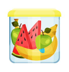 Plastic or glass closed container with fruits vector