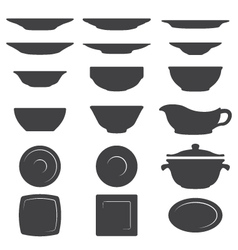 Plates And Dishes silhouette set vector image