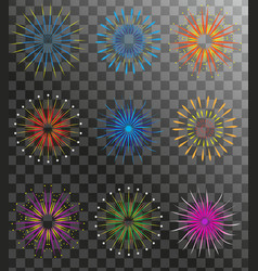 realistic fireworks set isolated on a transparent vector image