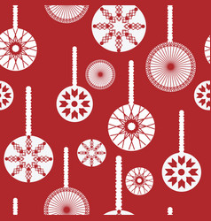 red and white christmas ornaments seamless pattern vector image
