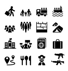 Refugee immigrants immigration icons set vector