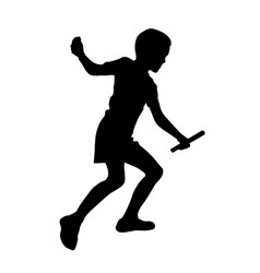 Relay race set running boy silhouette vector