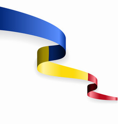 romanian flag wavy abstract background vector image