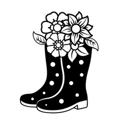 rubber boots silhouette with flower vector image