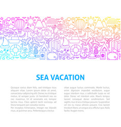 sea vacation line design template vector image
