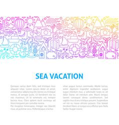 sea vacation line design template vector image