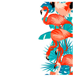 Seamless border with flamingo tropical bright vector