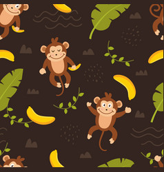 seamless pattern cute monkey vector image