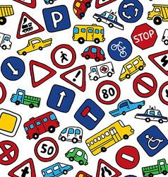 Seamless pattern of doodles road signs and cars vector