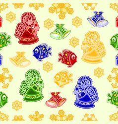 Seamless texture Christmas decorations fish angel vector image vector image