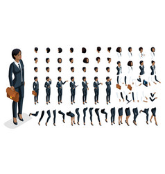 Set for create your character in isometric vector