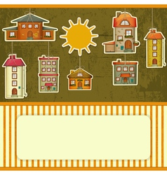 Set of Houses retro Card vector image vector image