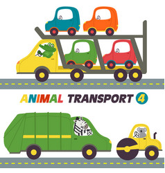 set of isolated transports with animals part 4 vector image