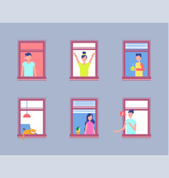 set people open window men and women neighbours vector image